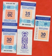 Kazakhstan 2005-06.  City Astana (moderne Nursyltan). Lot Of 5 Tickets. - Bus