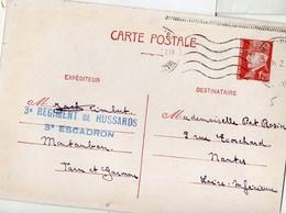 Cachet 3e REGIMENT DE HUSSARD .3E ESCADRON (Montauban)  Sur Entier Pétain 1942  (PPP17749) - Guerre De 1939-45