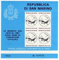 San Marino 1981 Monete Emesse Dal 1971 Al 1981 Foglietto Erinnofilo - Erinnophilie