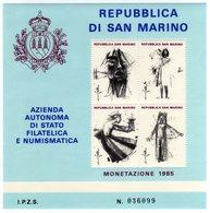 San Marino 1985 Monete Emesse Nel 1985 Foglietto Erinnofilo - Erinnophilie
