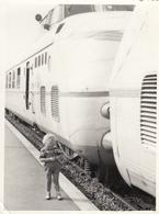 Child Standing Next To The Train Real Photo - Fotografia