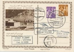 Egypt / Austria - 1959 - Nice Postcard - First Flight Cairo - Vienna By Austrian Airlines - Egypte