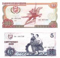North Korea. Banknotes. 5 And 10 Wons. UNC. 1978 - Corée Du Nord