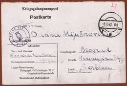 SERBIA/SERBIEN-GERMANY, POW CAMP MAIL OFLAG VIC, CENSORSHIP OWL CANCEL In VIOLET 1942 RR!! - Occupation 1938-45