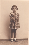 Girl W Teddy Bear Real Photo Postcard 1930s - Photographie