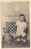 Child W Teddy Bear Real Photo Postcard 1940s - Photographie