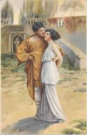 Cpa Couple D'amoureux De L'Antiquité - Illustration Signée ?? Carte Italienne - Fantaisies