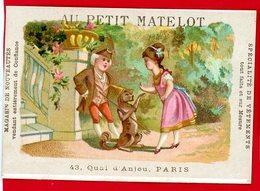 Paris, Au Petit Matelot, Jolie Chromo Lith. Alfred Clarey, Couple, Petit Singe - Autres