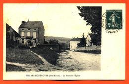"""CPA 52 Villars Montroyer """" La Poste Et L'église """" - France"""