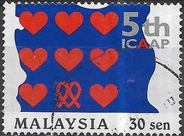 MALAYSIA 1999 Fifth International Conference On AIDS In Asia And The Pacific - 30s Hearts And AIDS Ribbons FU - Malaysia (1964-...)