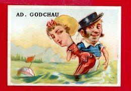 Maison A. Godchau, Jolie Chromo Lith. F. Appel, Cat. Vignaud AP3-1-23, Baigneurs, Caricatures à Grosse Tête - Autres