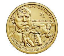 USA. 1 Dollar. 1 $. Native Americans. Sakagawa. 2018. UNC. Sport. Jim Thorpe. P - Federal Issues