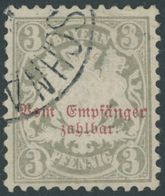BAYERN P 7 O, 1885, 3 Pf. Türkisgrau, Wz. 3, Eckbug Sonst Pracht, Mi. 130.- - Bayern