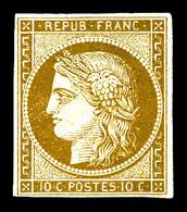 * N°1, 10c Bistre-jaune, Frais, SUP. R (signé Brun/Calves/certificats)  Qualité: *  Cote: 3000 Euros - 1849-1850 Cérès