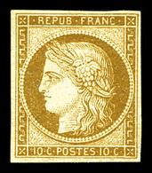 * N°1, 10c Bistre-jaune. TTB. R (certificat)  Qualité: *  Cote: 3000 Euros - 1849-1850 Cérès