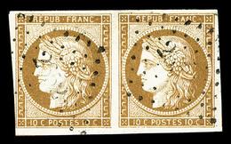 O N°1, 10c Bistre-jaune En Paire Horizontale, Jolie Pièce (signé Brun/certificat)  Qualité: O  Cote: 825 Euros - 1849-1850 Cérès