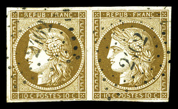 O N°1c, 10c Bistre-verdâtre Foncé En Paire Horizontale Obl Pc 2102. TTB (certificat)  Qualité: O  Cote: 2000 Euros - 1849-1850 Cérès
