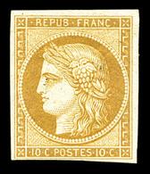 * N°1f, 10c Bistre, Impression De 1862, TB (certificat)  Qualité: *  Cote: 650 Euros - 1849-1850 Cérès