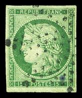 O N°2, 15c Vert Oblitéré étoile Légère. TTB (signé Scheller/certificat)  Qualité: O  Cote: 1050 Euros - 1849-1850 Cérès
