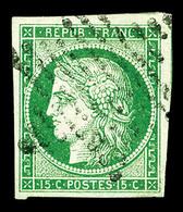 O N°2, 15c Vert, Oblitération étoile De Paris, TTB (certificat)  Qualité: O  Cote: 1000 Euros - 1849-1850 Cérès