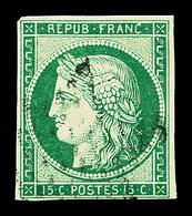 O N°2, 15c Vert, TB (signé/certificat)  Qualité: O  Cote: 1050 Euros - 1849-1850 Ceres