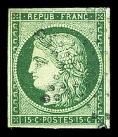 O N°2b, 15c Vert-foncé Obl étoile, Pelurage En Angle Sinon TB  Qualité: O  Cote: 1200 Euros - 1849-1850 Ceres