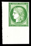 ** N°2e, 15c Vert, Impression De 1862, Coin De Feuille, Fraîcheur Postale, SUP (certificat)  Qualité: ** - 1849-1850 Cérès