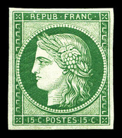 ** N°2e, 15c Vert, Impression De 1862. Fraîcheur Postale, SUP (certificat)  Qualité: ** - 1849-1850 Cérès
