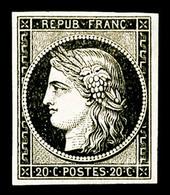 * N°3, 20c Noir Sur Jaune, TTB (signé Brun/certificat)  Qualité: *  Cote: 625 Euros - 1849-1850 Cérès