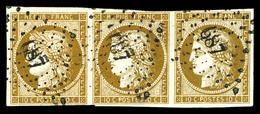 O N°1, 10c Bistre-jaune, Bande De 3 Obl '687'. TTB (certificat)  Qualité: O  Cote: 1700 Euros - 1849-1850 Cérès
