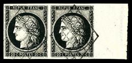 O N°3, 20c Noir Sur Jaune En Paire Horizontale, Bord De Feuille Latéral. SUP (signé Calves/certificat)  Qualité: O - 1849-1850 Cérès