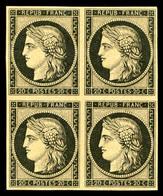 ** N°3f, 20c Noir Sur Jaune Impression De 1862 En Bloc De Quatre, Fraîcheur Postale, SUPERBE (certificat)   Qualité: ** - 1849-1850 Cérès