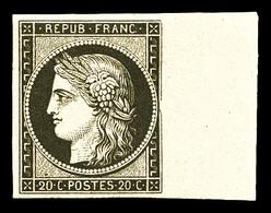 ** N°3f, 20c Noir Sur Jaune Impression De 1862, Bord De Feuille, Fraîcheur Postale, SUP (certificat)  Qualité: ** - 1849-1850 Cérès