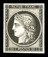* N°3f, 20c Noir Sur Jaune Impression De 1862, Quasi**, TTB (certificat)  Qualité: *  Cote: 500 Euros - 1849-1850 Ceres