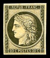 * N°3f, 20c Noir Sur Jaune Impression De 1862, TTB (certificat)  Qualité: *  Cote: 500 Euros - 1849-1850 Cérès