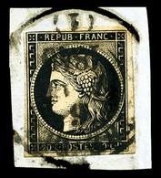O N°3, 20c Noir Oblitéré CàD T13 TREVOUX (1) 6 JANV 1849 Sur Fragment, SUP (certificat)  Qualité: O - 1849-1850 Cérès