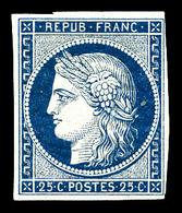 ** N°4a, 25c Bleu Foncé, Exceptionnelle Fraîcheur, R.R.R, SUPERBE (signé Brun/certificat)  Qualité: ** - 1849-1850 Cérès