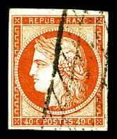 O N°5, 40c Orange Obl Grille Sans Fin, Jolie Pièce. TTB (certificat)  Qualité: O  Cote: 575 Euros - 1849-1850 Ceres