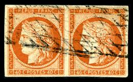 O N°5b, 40c Orange Foncé En Paire Horizontale, Oblitération Grille Sans Fin, Jolie Nuance, TTB (certificat)   Qualité: O - 1849-1850 Cérès