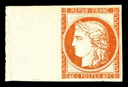 ** N°5g, 40c Orange, Impression De 1862, Bord De Feuille Latéral, Fraîcheur Postale. SUP (certificat)  Qualité: ** - 1849-1850 Cérès