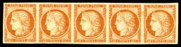 ** N°5A, 40c Orange Foncé En Bande De Cinq (2ex*). PIECE SUPERBE. R.R.R (certificat)  Qualité: ** - 1849-1850 Cérès