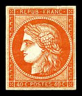 * N°5A, 40c Orange Foncé, Quatre Belles Marges, Très Frais. TTB (signé Calves/certificat)  Qualité: *  Cote: 3800 Euros - 1849-1850 Cérès