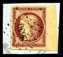 O N°6, 1f Carmin Obl Pc 2650, Grandes Marges Avec Bord De Feuille Et Voisin Sur Son Support. SUP (signé Calves/Scheller/ - 1849-1850 Cérès