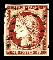 O N°6, 1f Carmin Obl Gros Points, Frais. TTB (signé Calves/certificat)  Qualité: O  Cote: 1000 Euros - 1849-1850 Cérès