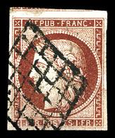 O N°6, 1f Carmin Obl Grille. TB (signé Scheller/certificat)  Qualité: O  Cote: 1000 Euros - 1849-1850 Cérès