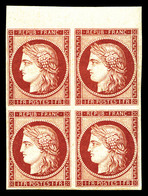 ** N°6f, 1F Carmin, Impression De 1862 En Bloc De Quatre Bord De Feuille Supérieur, Fraîcheur Postale. SUPERBE. R. (cert - 1849-1850 Cérès