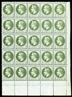 ** N°25, 1c Bronze En Bloc De 25 Exemplaires Coin De Feuille (2ex*), Fraîcheur Postale (certificat)   Qualité: ** - 1863-1870 Napoleon III With Laurels