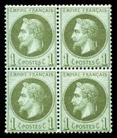 ** N°25, 1c Bronze, Bloc De Quatre, Bon Centrage. TTB (certificat)  Qualité: ** - 1863-1870 Napoleon III With Laurels