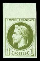 ** N°25c, Rothschild, 1c Olive Impression Fine Non Dentelé Bdf , Fraîcheur Postale. SUP (signé Champion/certificat)  Qua - 1863-1870 Napoleon III With Laurels