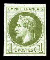 * N°25c, Rothschild, 1c Olive Impression Fine Non Dentelé , Fraîcheur Postale. SUP (signé Calves/certificat)  Qualité: * - 1863-1870 Napoleon III With Laurels